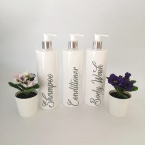 Personalised White Pump Action Lotion Bottles (Mrs Hinch Style)