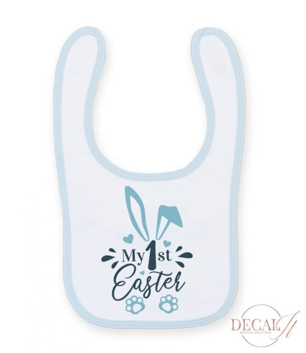 My First Easter Bib Blue/White