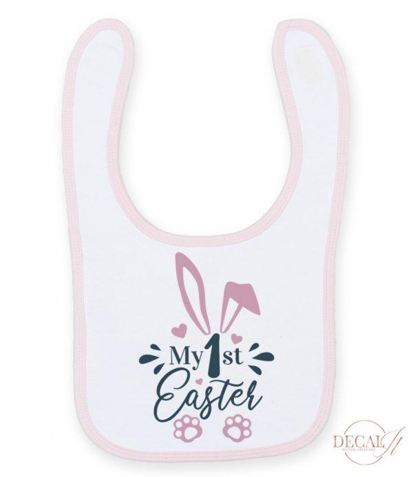My First Easter Bib Pink/White