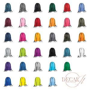 Coloured Drawstring Bags Grouped