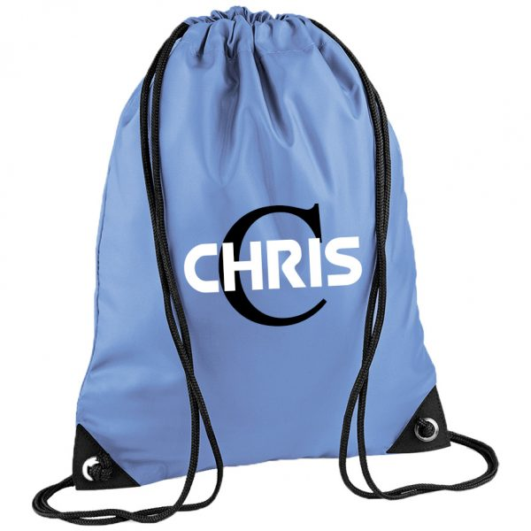 Initial Letter and Bold Name Drawstring Bag