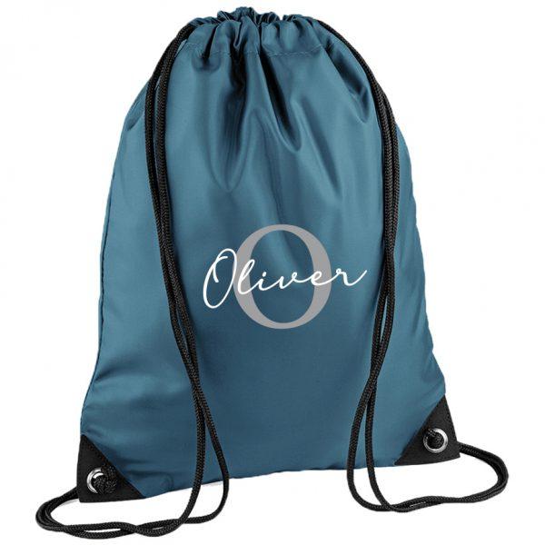 Initial Letter and Script Name Drawstring Bag