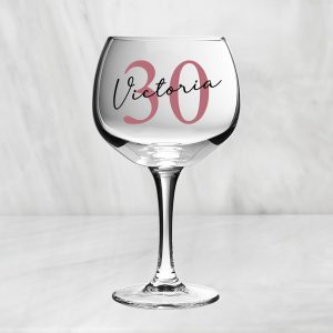 Personalised Birthday Gin Glass - Age & Name