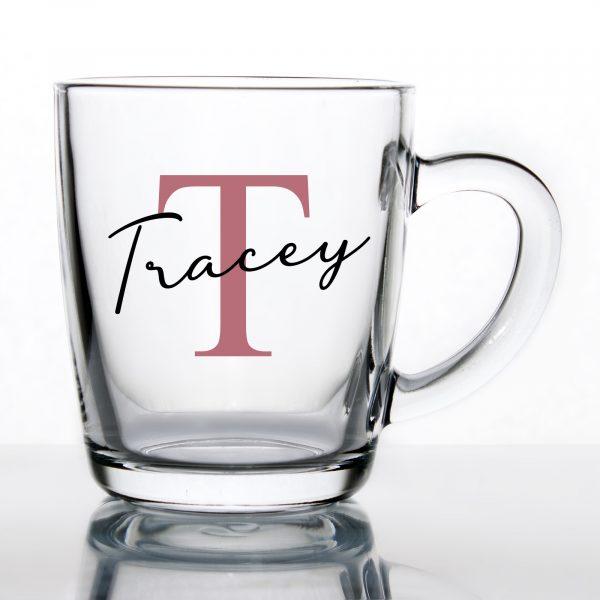 Personalised Glass Tea/Coffee Mug - Initial & Name