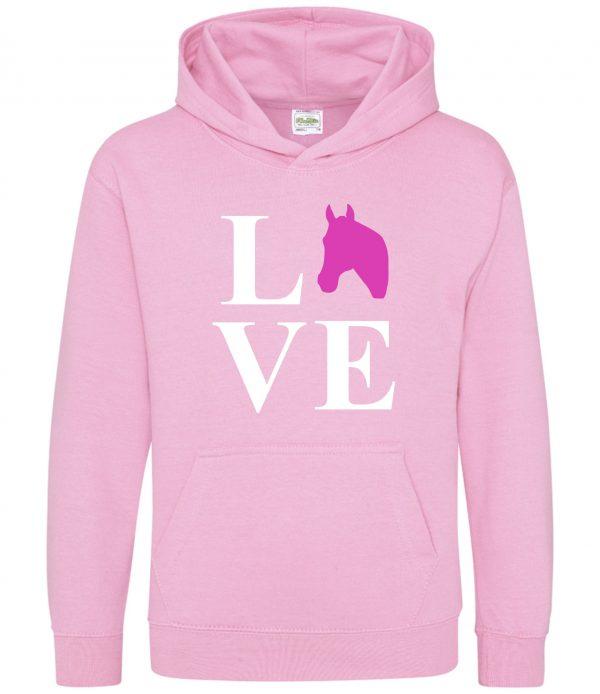 Horse Hoodie - Equestrian Love Horses Baby Pink