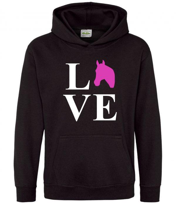 Horse Hoodie - Equestrian Love Horses Black
