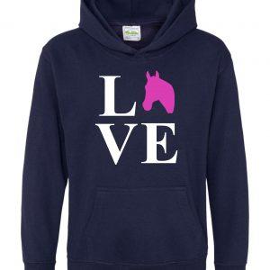 Horse Hoodie - Equestrian Love Horses Navy