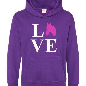 Horse Hoodie - Equestrian Love Horses Purple