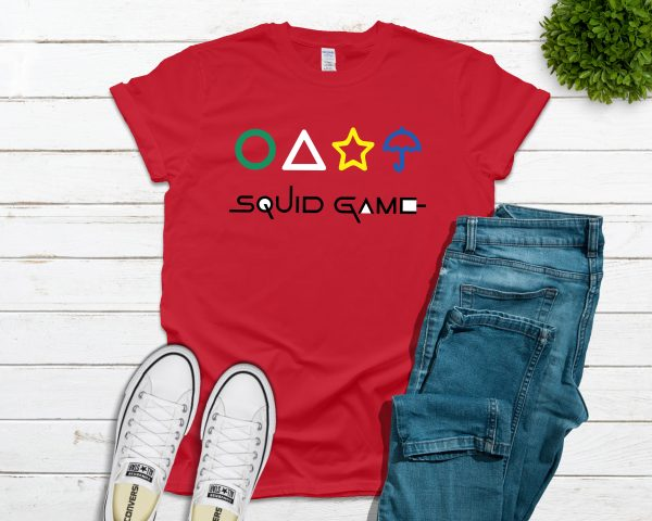 Squid Game with Shapes Tee - Red