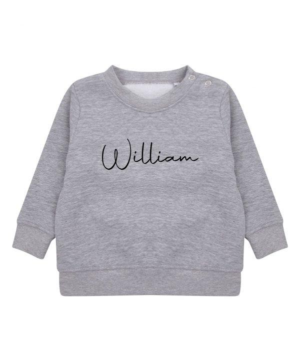 Toddler Personalised Signature Sweatshirt - Heather Grey