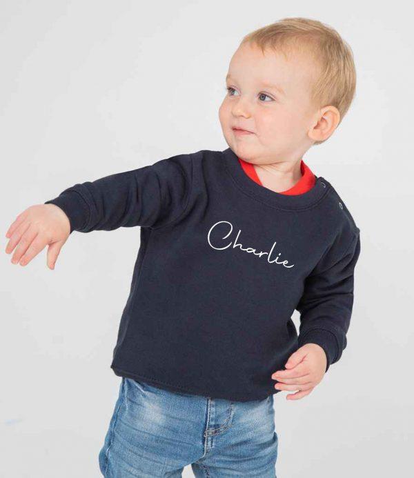 Toddler Personalised Signature Sweatshirt - Navy Model